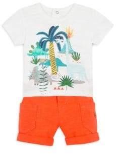 Catimini Baby Boy's Dinosaur Tee& Shorts Set - Dark Coral - Size 3 Months