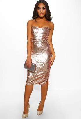 e868dbe478e Pink Boutique Winter Wonderland Rose Gold Sequin Bandeau Midi Dress
