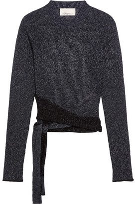 3.1 Phillip Lim - Tie-front Metallic Ribbed-knit Sweater - Storm blue $425 thestylecure.com