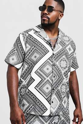 Big & Tall Chevron Tile Print Revere Collar Shirt