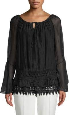 Le Marais Lace-Hem Silk Peasant Top