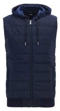 BOSS Hugo Zipper-through gilet hood & padded front panel M Dark Blue