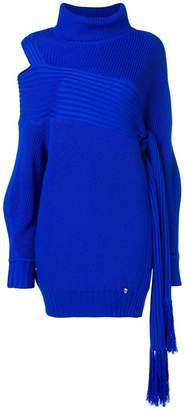 Versace ribbed cut out side tassel sweater