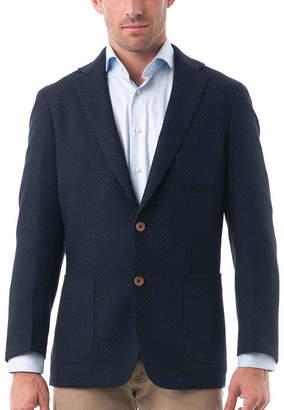 VERNO Men's Dark Navy Woolen Classic Fit Quilted Textured Blazer