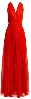 Maria Lucia Hohan Margo Open Back Pleated Tulle Dress - Womens - Red