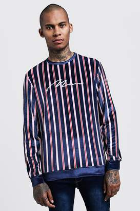 boohoo Velour Stripe MAN Embroidered Sweater