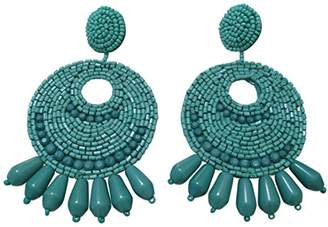 Kenneth Jay Lane Faux- Seed Bead Round Gypsy Hoop with PRCD Drop Earrings