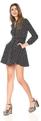 Wild Meadow Women's Polka Dottie Long Sleeve Shirt Dress L Black