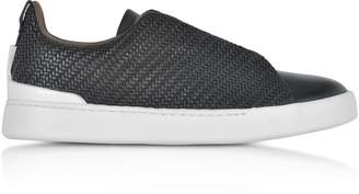 Ermenegildo Zegna Black Triple Stitch Woven Leather Low Top Sneakers