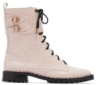 Sophia Webster Bessie Crocodile Effect Leather Combat Boots - Womens - Pink