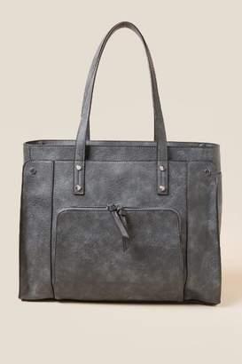 francesca's Fiona Vegan Leather Tote - Blue