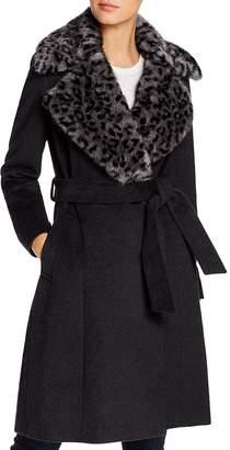 Via Spiga Leopard-Printed Faux Fur Collar Wool-Blend Coat