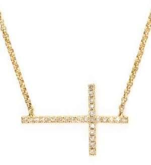 Effy D Oro 14K Yellow Gold and Diamond Cross Necklace