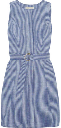 MICHAEL Michael Kors - Belted Striped Cotton-blend Chambray Mini Dress - Blue $165 thestylecure.com