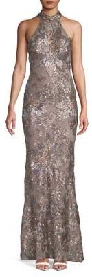 Betsy & Adam Halter Neck Sequin Embellished Sheath Gown