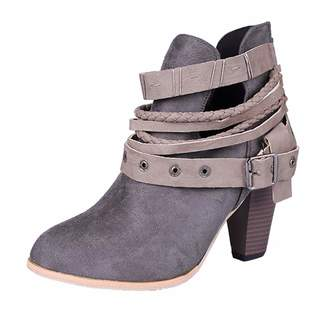 c3f5005e251b GIY Women s Close Toe Buckle Strap Stacked Heel Ankle Boots Suede Platform  Zip Bootie Martin Short