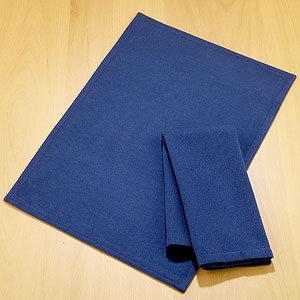 Navy Blue Diamond Dobby Placemats or Napkins, Set of 4