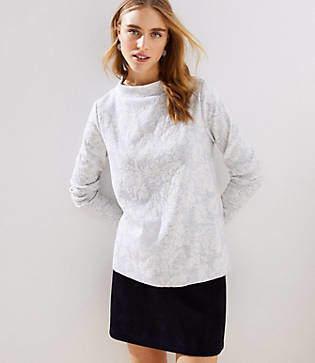 LOFT Petite Floral Jacquard Mock Neck Sweatshirt