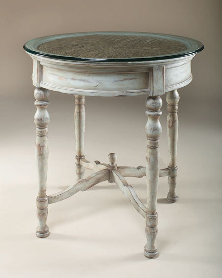Maitland-Smith Glass-Topped Rochefort Blue Bistro Table
