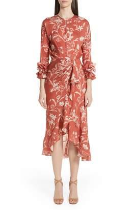 Johanna Ortiz Floral Print Ruffle Satin Dress