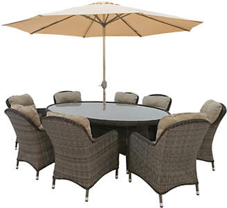 LG Electronics Outdoor Marseille 8 Seater Oval Garden Dining Table and Chairs Set with Parasol, Natural