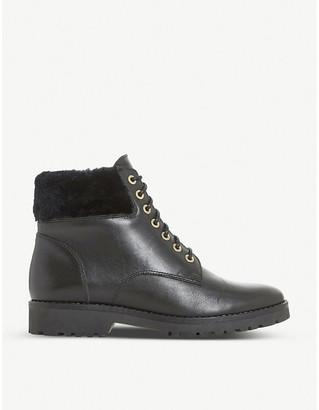 Dune Ladies Black Textured Practical Brocade Heeled Ankle Boots
