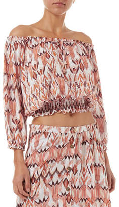 Melissa Odabash Anne Cropped Off-Shoulder Coverup Top