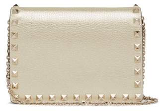 Valentino Rockstud Metallic Grained Leather Clutch - Womens - Gold