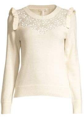 Rebecca Taylor Emilie Embroidery Wool Blend Sweater