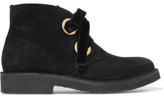 Rupert Sanderson Lester Velvet-trimmed Suede Ankle Boots - Black