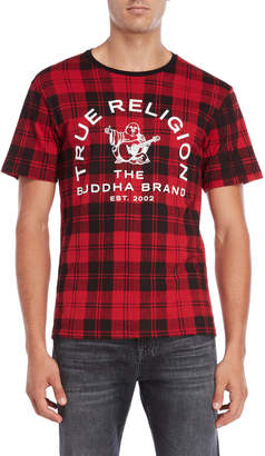 True Religion Red Plaid Logo Tee