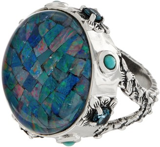 Stephen Dweck Sterling Silver Triplet Mosaic Opal Ring Ring