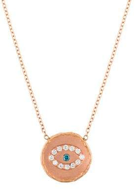 Jacquie Aiche 14K Diamond Hammered Disc Evil Eye Pendant Necklace