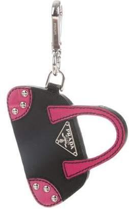 Prada Saffiano Purse Keychain Black Saffiano Purse Keychain