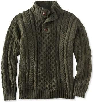 L.L. Bean L.L.Bean Men's Heritage Sweater, Irish Fisherman's Button-Mock