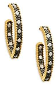 Freida Rothman Textured Ornaments Pave Hoops