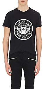 Balmain Men's Logo Distressed Cotton T-Shirt-Black
