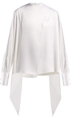 The Row Asta Pussy Bow Twill Blouse - Womens - White