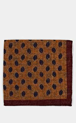 Fairfax Men's Reversible Medallion-Print Wool Pocket Square - Gold