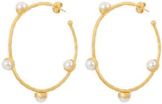 Henri Bendel Elle Gemz Pearl Studded Hoop Earring