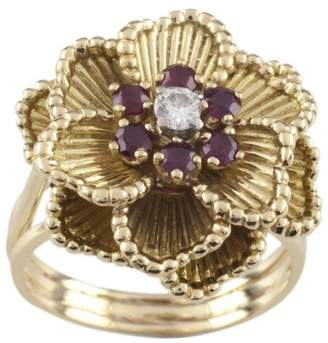 Rubie's Costume Co Henry Dankner 18K Yellow Gold with and Diamond Flower Ring Size 7.5
