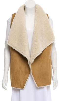 Velvet Faux Shearling Open Front Vest