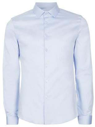 Topman Mens Light Blue Premium Satin Touch Dress Shirt