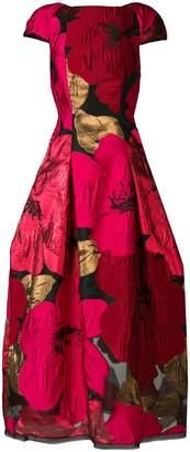 Talbot Runhof oversized poppy print dress