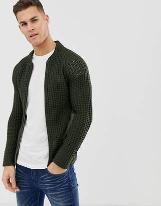 Brave Soul Waffle Knit Zip Through Cardigan