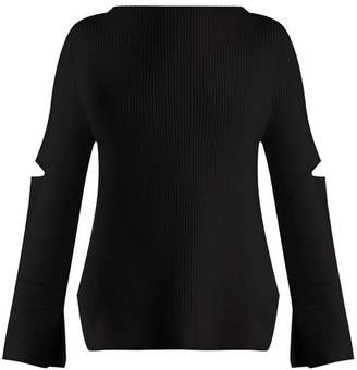 Stella Mccartney - Boat Neck Ribbed Knit Wool Sweater - Womens - Navy