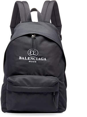 Balenciaga Men's Double-B Logo Backpack