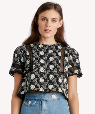 Sole Society Short Sleeve Lace Trim Top