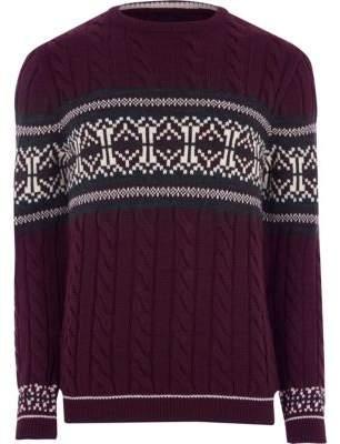 River Island Burgundy cable knit Fairisle Christmas sweater