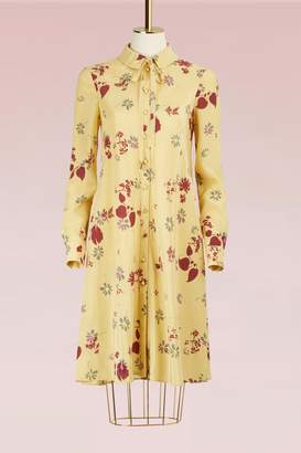 Valentino Floral Printed Long-Sleeved Silk Dress